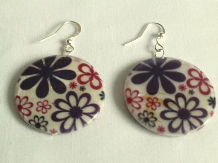 Purple flower shell earrings